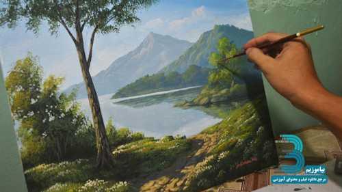 دانلود فیلم آموزش نقاشی با رنگ اکریلیک – صبحی زیبا در کنار دریاچه
