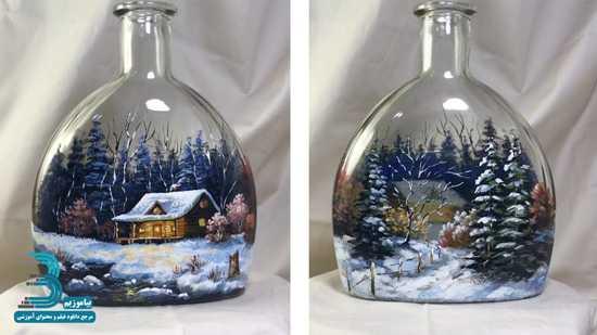 دانلود فیلم آموزش نقاشی برروی بطری – منظره زمستانی