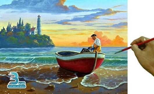 دانلود فیلم آموزش نقاشی با رنگ اکریلیک – مرد ماهیگیر